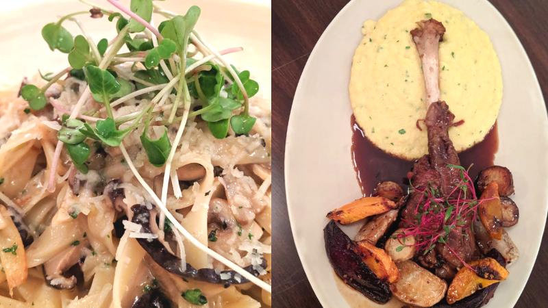 L: Wild Mushroom Tagliatelle ; R: Pork Chops
