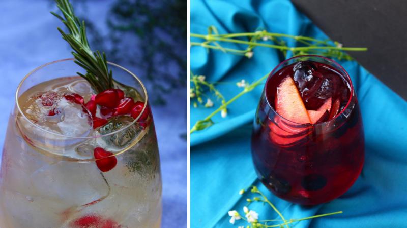 L: Pomegranate & Rosemary Sangria; R : Rosé & Berry Sangria